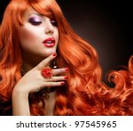 red hair. fashion girl portrait | Shutterstock . vector #97545965