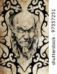 tattoo devil with piercing over ... | Shutterstock . vector #97557251