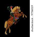 old neon in las vegas horseman - stock photo