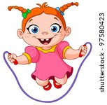 young girl jumping over a... | Shutterstock .eps vector #97580423