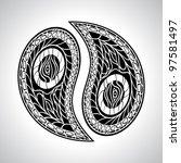 floral yin yang symbol vector... | Shutterstock .eps vector #97581497