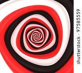 Triangular vortex of black, white, red colors - stock photo