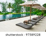 beach chairs and umbrella side... | Shutterstock . vector #97589228