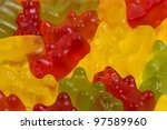 Gummy Bears - Colourful bear shaped sweets close-up. - stock photo