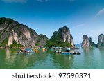 fishermen village in halong bay ... | Shutterstock . vector #97590371