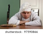 chef with cap look at you with... | Shutterstock . vector #97590866