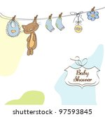 baby shower invitation card | Shutterstock .eps vector #97593845