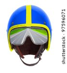 Retro helmet and goggles with highway reflecting. - stock photo