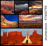 American landscapes collage - stock photo