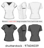 vector. women's v neck t shirt... | Shutterstock .eps vector #97604039