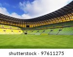 GDANSK, POLAND - FEBRUARY 7: Newly built PGE Arena stadium for 43,615 spectators. The stadium was built specifically for the Euro 2012 Championship, February 7, 2012 in Gdansk, Poland - stock photo