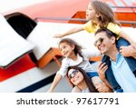 excited family with arms up... | Shutterstock . vector #97617791