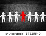 cutout paper people on wooden... | Shutterstock . vector #97625540