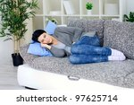 young woman lying on bed and... | Shutterstock . vector #97625714