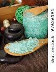 Sea Blue Salt In Wooden Spoon