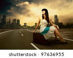 young woman waiting on the road ... | Shutterstock . vector #97636955