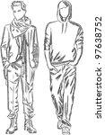 vector sketch of fashionable men | Shutterstock .eps vector #97638752