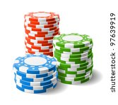 casino chips stacks. vector. | Shutterstock .eps vector #97639919