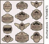 set of ornate labels. grouped... | Shutterstock .eps vector #97648871