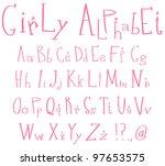 pink girly alphabet | Shutterstock .eps vector #97653575