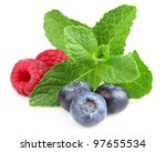 Mint with fresh berry - stock photo