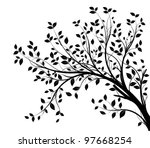 Stock vector tree branches silhouette isolated over white background with lot of leaves border of a page 97668254