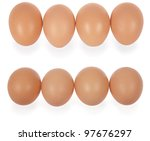 four eggs in row. isolated on a ...   Shutterstock . vector #97676297
