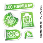 Eco Friendly Formula stickers set. - stock vector
