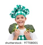 Happy chef with hat and apron holding broccoli - isolated - stock photo