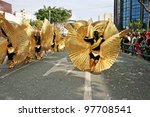 LIMASSOL, CYPRUS - MARCH 6, 2011: Unidentified participants in Egyptian costumes during the carnival parade,  established in16th century, influenced by Venetians. - stock photo