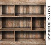 empty wood shelf. grunge... | Shutterstock . vector #97711475