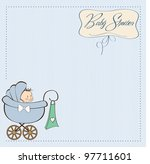 baby boy announcement card with ... | Shutterstock .eps vector #97711601