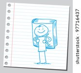 funny pupil holding book as a... | Shutterstock .eps vector #97716437