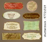 vector set: Premium Quality and Satisfaction Guarantee Labels, old paper texture