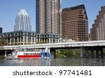 AUSTIN, TEXAS - MAR 9: SXSW 2012 South by Southwest 2012 Annual music, film, and interactive conference and festival on March 9, 2012 in Austin, Texas. Festival is held from March 9-18.   Austin skyline, view from the river - stock photo