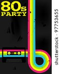 retro poster   80s party flyer... | Shutterstock .eps vector #97753655