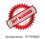 Red Just Married stamp print - stock photo