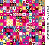 cute hearts, stars and flowers abstract art pattern - stock photo