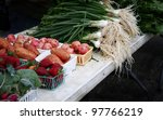 Farmers market: organically grown vegetables - stock photo