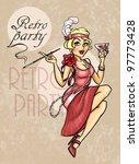 retro party invitation card ... | Shutterstock . vector #97773428