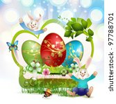 easter card with bunnies and...   Shutterstock .eps vector #97788701