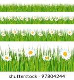 green grass and daisies strips. ... | Shutterstock . vector #97804244