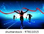 illustration of men running on technological background - stock vector