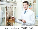 young pharmacist chemist man... | Shutterstock . vector #97811360