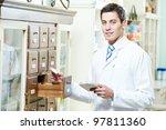 young pharmacist chemist man...   Shutterstock . vector #97811360