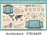 retro vector set of infographic ... | Shutterstock .eps vector #97818689