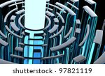 Glittering labyrinth - abstract 3d design - stock photo