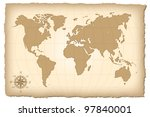 an old map of the world. vector