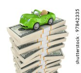 small green car on a big pack... | Shutterstock . vector #97842335