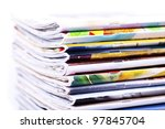 stack of magazines isolated on... | Shutterstock . vector #97845704